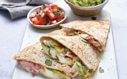 Ham and Cheese Quesadillas with Tomato Salsa and Avocado Mash