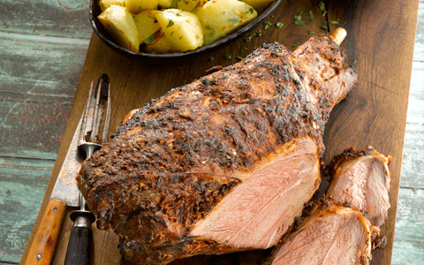 Roast Spiced Leg of Lamb with Coriander Yogurt