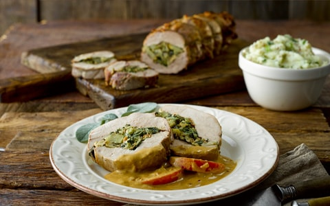Stuffed Pork Steak with Apple and Cider Sauce