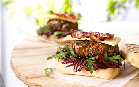 Image Beef Burgers with Bacon, Farmhouse Cheese and Beetroot Relish