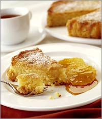 Apricot and Almond Cake with Oranges in Caramel
