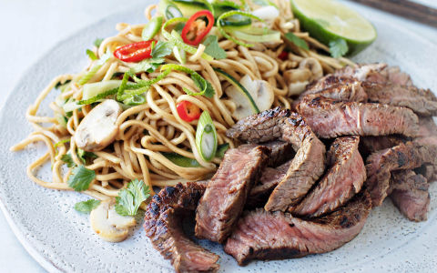 Asian Flavoured Beef with Noodle Salad