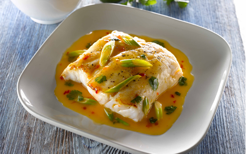 Asian Style Hake with Sweet Chilli, Scallion, Coriander and Lime Butter Sauce