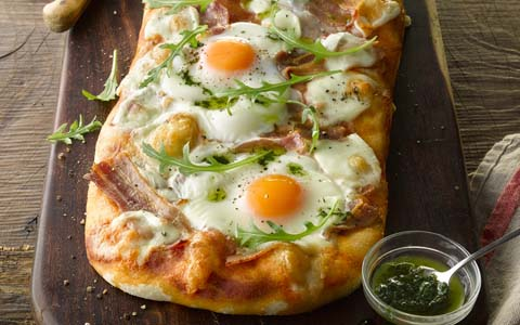 Bacon and Egg Pizza with Basil Oil
