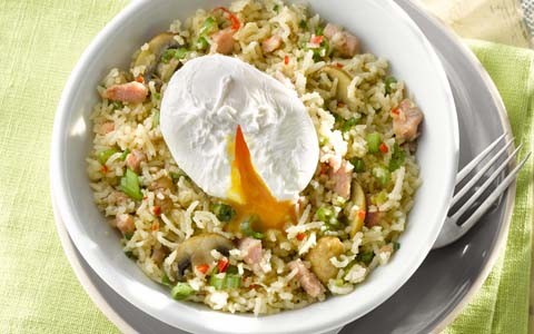 Bacon and Mushroom Fried Rice with Poached Eggs
