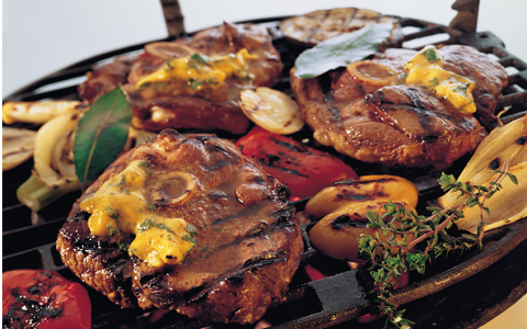 Barbecue Lamb Steaks with Spicy Tarragon and Shallot Butter