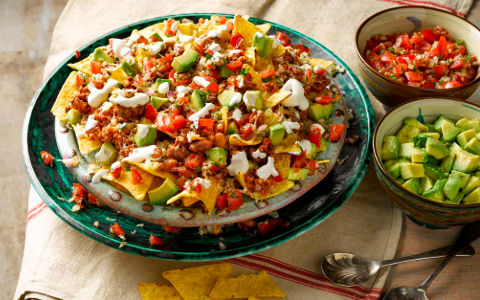 Beef Nachos with Tomato Salsa, Avocado and Soured Cream