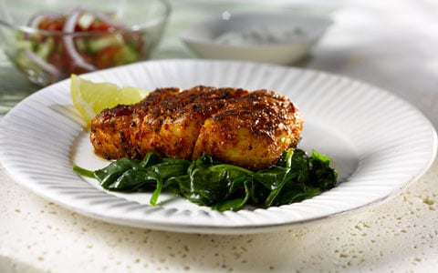Blackened Cajun Hake with Wilted Spinach