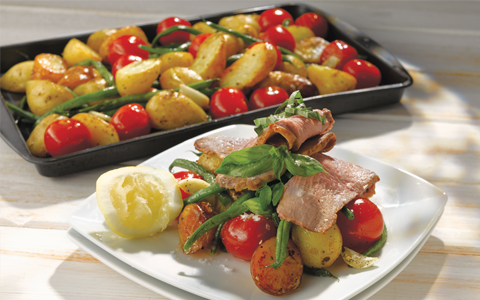 Butterfly Leg of Organic Lamb with New Potatoes, Cherry Tomatoes, Green Beans and Basil