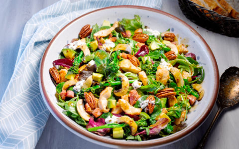 Chicken and Bacon Salad with Roasted Broccoli and Mushrooms