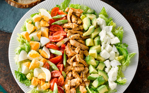 Cobb Salad with Stir-fried Pork and Basil and Lemon Dressing