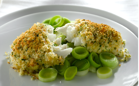 Crusted Haddock with Herb Mash And Creamy Leeks