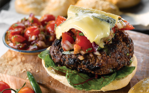 Delicious Burgers with Melted Cheese and Tomato Salsa