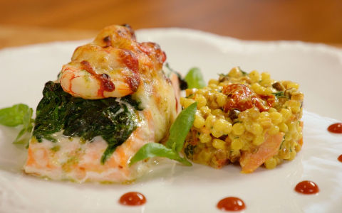 Gratin of Salmon with Prawns, Spinach and Pesto
