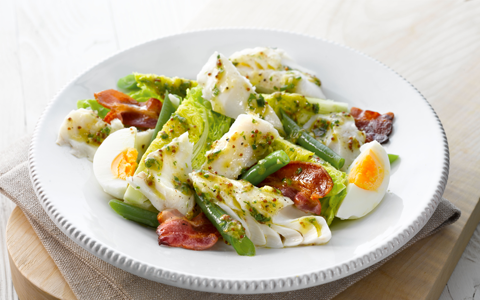 Grilled Haddock with a Salad of Baby Gem, Egg and Crispy Bacon