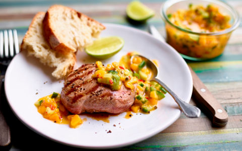 Grilled Lamb Steaks with Spicy Mango Salsa