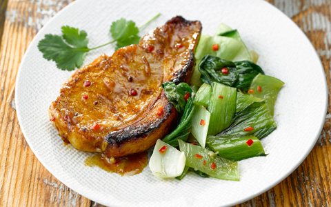 Grilled Pork Chops with Stir-fried Pak Choi