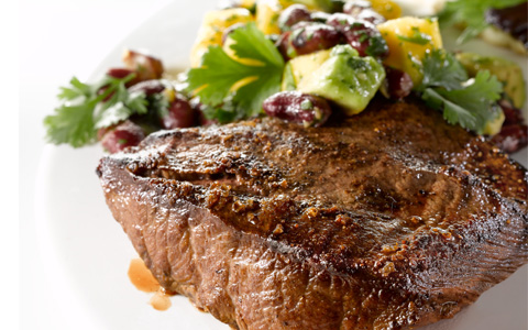 Grilled Steak with Avocado, Mango and Kidney Bean Salsa