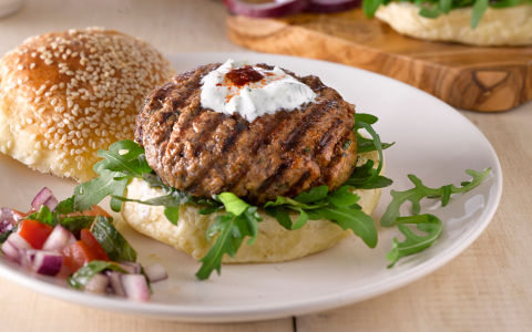 Harissa Flavoured Lamb Burgers with Tzatziki