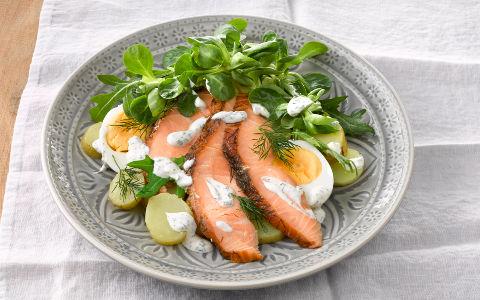 Hot Smoked Salmon Egg And Potato Salad With Sour Cream Dressing