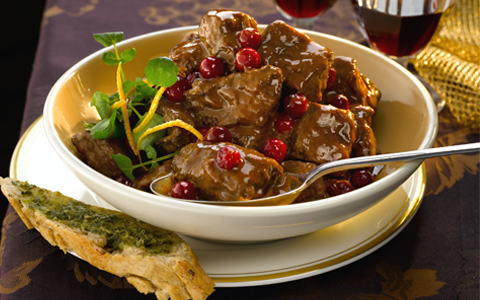 Lamb Casserole with Cranberries and Port