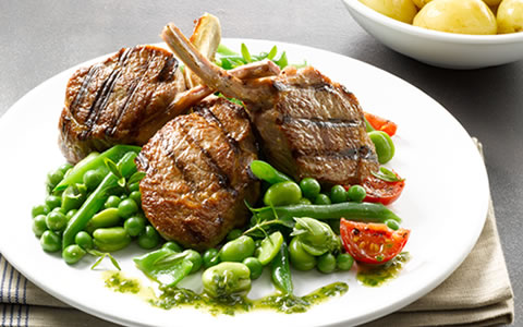 Lamb Cutlets with Fresh Herb Dressing
