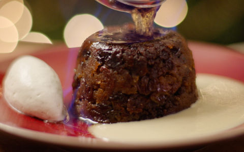 MacNean Plum Pudding with Almond Custard