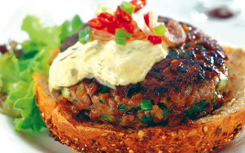 Minced Lamb Burgers with Spicy Soured Cream Dressing