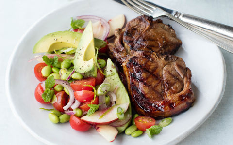 Mustard Glazed Lamb Chops with Summer Salad