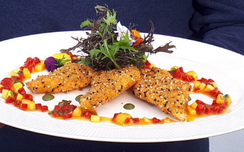 Neven's Fish Goujons with a Mango and Red Pepper Salsa