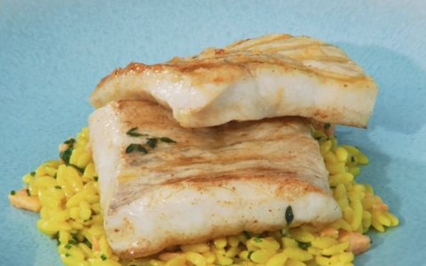 Neven's Grilled Brill with Prawns and Orzo
