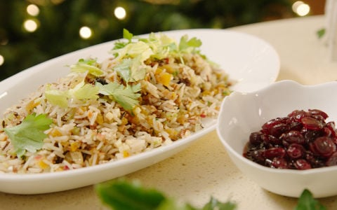 Neven's Warm Rice Salad with Sour Cranberry Sauce