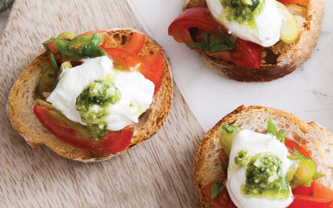 Organic Tomato, Pesto and Goats' Cheese Crostini