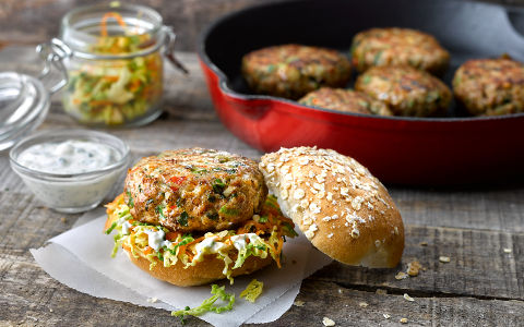 Pork Burgers with Spicy Coleslaw
