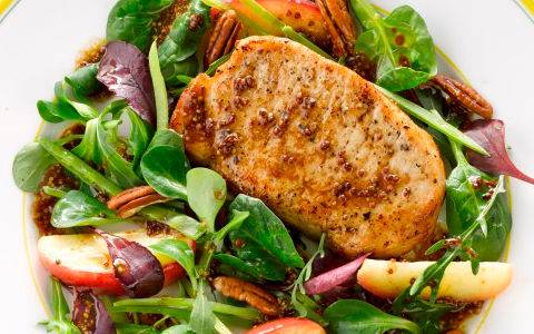 Pork Chops with Apple and Pecan Salad