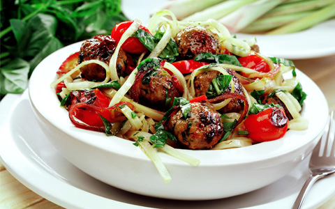 Pork Meatballs with Cherry Tomato Dressing