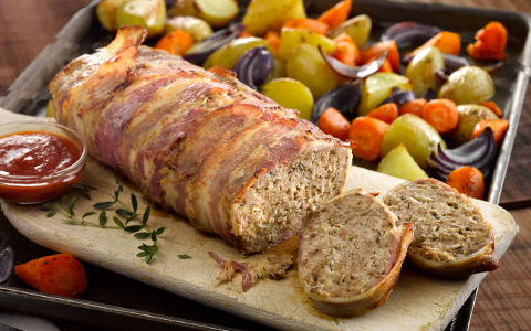 Pork Meatloaf with Roasted Vegetables and Tomato Sauce
