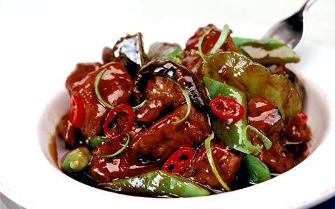 Pork Stir-fry with Mushrooms, Chilli and Mange-tout