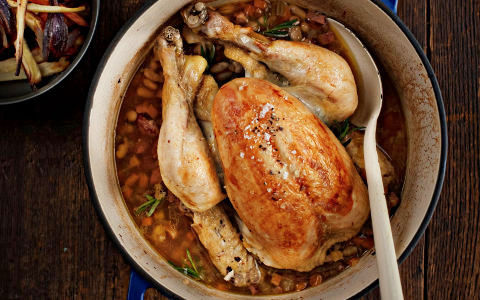 Pot Roast Chicken with Smokey Bacon and Beans