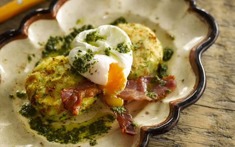 Potato Cakes with Bacon, Eggs and Mojo Sauce