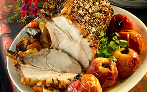 Roast Rack of Pork with Fennel and Stuffed Apples