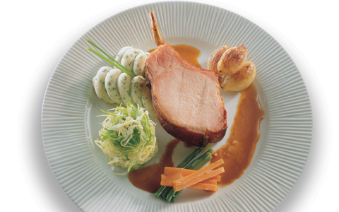 Roast Smoked Loin of Pork with Herb Mash, Buttered Cabbage and Whiskey Jus