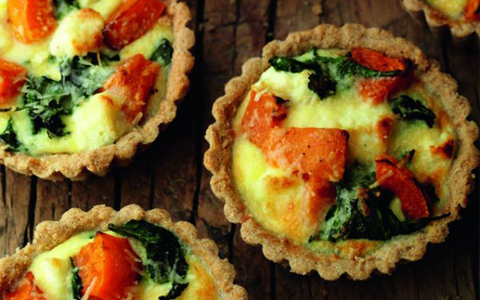 Roasted Squash, Spinach and Goats Cheese Tartlets
