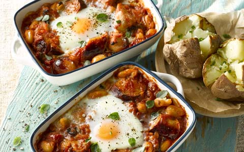 Sausages Baked with Beans and Eggs