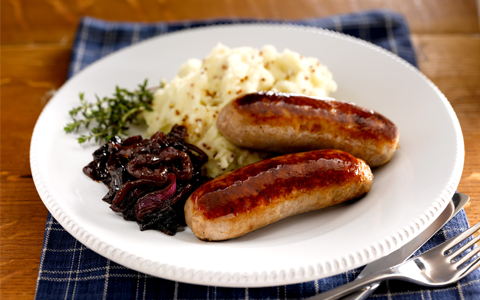 Sausages with Caramelised Onions and Wholegrain Mustard Mash
