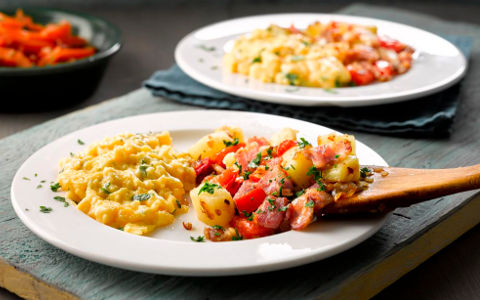 Scrambled Eggs with Bacon and Red Pepper Hash and Tomato and Cumin Salad