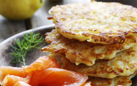 Smoked Salmon with Boxty Pancakes and Soured Cream