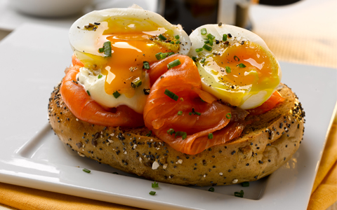 Soft Boiled Eggs and Smoked Salmon Bagels