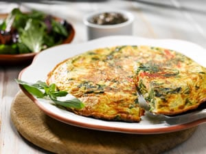 Spanish Omelette with Roast Pepper, Goats Cheese, Basil and Spinach