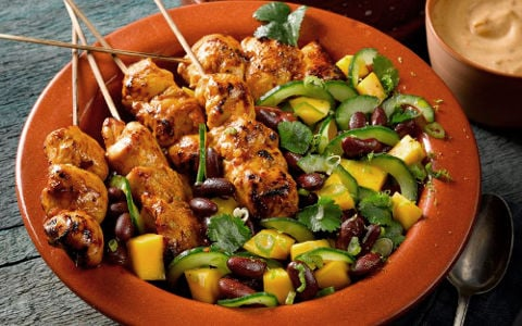 Spicy Chicken Kebabs with Mango, Cucumber and Kidney Bean Salad and Chilli Mayonaise